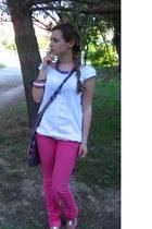 hot pink Bershka jeans - ivory Zara shirt - ivory Zara flats - DIY accessories