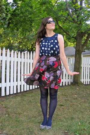 blue Forever 21 top - purple Target skirt - silver Audrey Brooke via DSW shoes