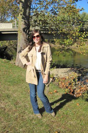 beige Old Navy coat - blue Gap jeans
