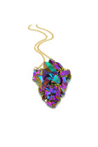 Titanium Druzy Crystal Arrowhead Necklace