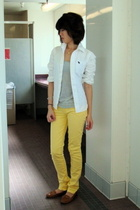 yellow nissi jeans nissi pants - brown franco sarto shoes - gray Abercrombie top