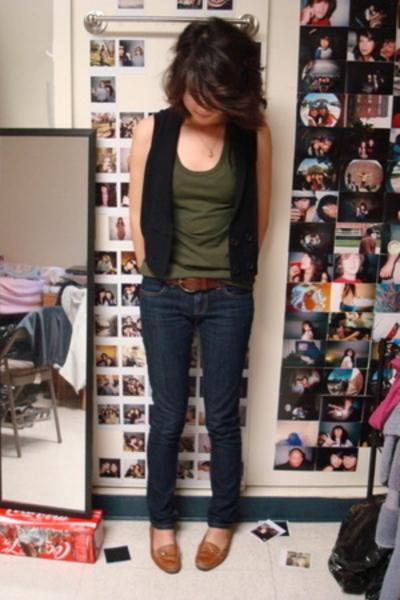 calvin klein top - One Clothing vest - Gap belt - franco sarto shoes