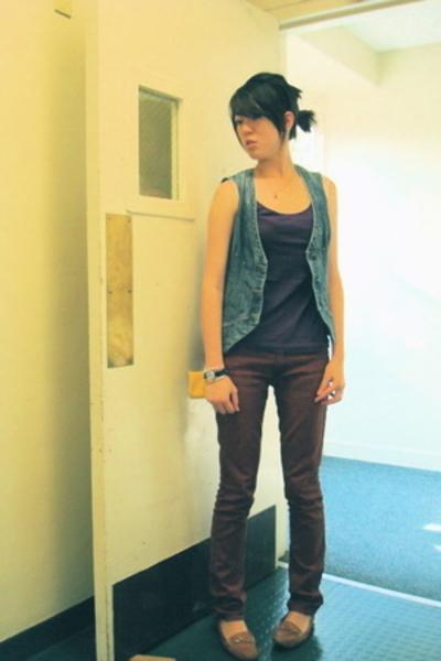 Paige Denim vest - American Apparel top - J Brand jeans - franco sarto shoes