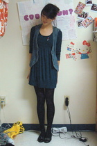 forever 21 dress - Paige Denim vest - taiwan shoes - Target tights - Penguin Cla