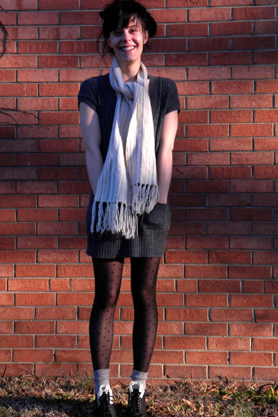 silver sweater - silver socks - gray stockings - white scarf - black shoes