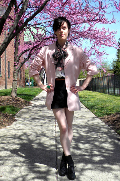 black shoes - black shorts - white blouse - pink blazer - silver accessories - b