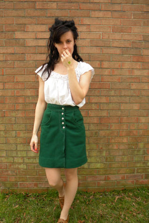green skirt - brown shoes - white shirt