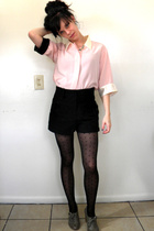 pink blouse - black shorts - black stockings - gray shoes - gold accessories