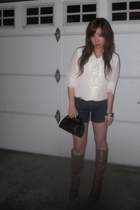 Vintage from my mother blouse - Guess shorts - Puma purse - no idea boots - fore