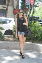 BLANCO bag - Mango shorts - Jeffrey Campbell wedges - Queens Wardrobe top