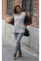 Zara boots - Zara jeans - Mango jacket - Queens Wardrobe sweater - Zara bag