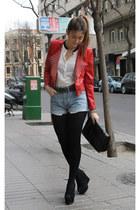 leather Queens Wardrobe jacket - Mango bag - vintage shorts