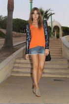 Mango jacket - Mango shorts - Zara top - Mango heels