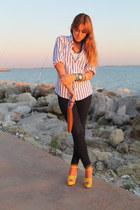 Zara heels - hollister jeans - Ralph Lauren shirt - Zara bag