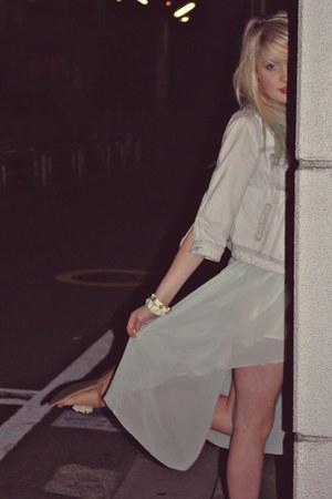 dip hem momo dress - denim Miss Selfridge jacket - flip flops Primark sandals