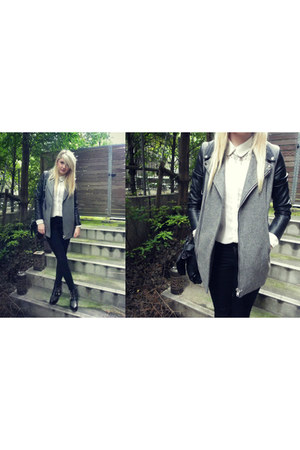 charcoal gray leather sleeves spinns jacket - black studded ankle asos boots