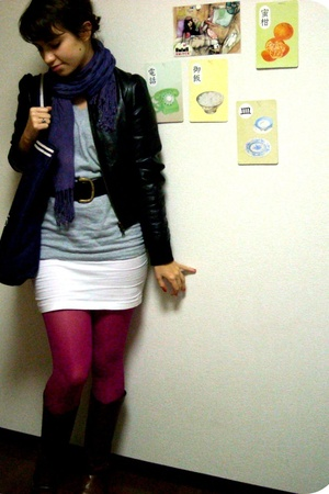 Forever21 jacket - scarf - American Apparel t-shirt - American Apparel dress - T