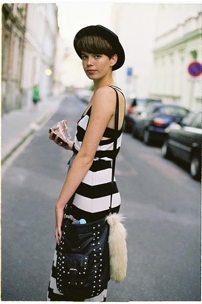 white H&M dress - black New Yorker purse - beige accessories - black random hat