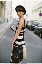 white H&M dress - black New Yorker purse - beige accessories - black random hat