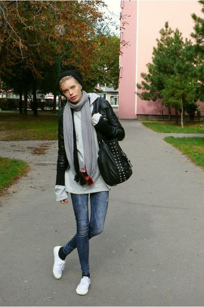 New Yorker jacket - second hand sweater - H&M scarf - random scarf - New Yorker