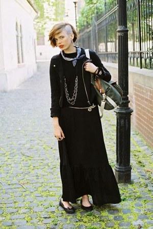 black New Yorker jacket - black menswear Zara sweater - dark khaki H&M bag