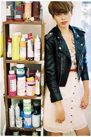 pink H&M dress - black New Yorker jacket - red second hand belt - white Converse