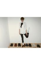 black random pants - white random blazer - brown random shoes - black nerd glass