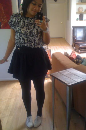 black cotton on skirt - white na shirt - white shoes - silver cotton on accessor