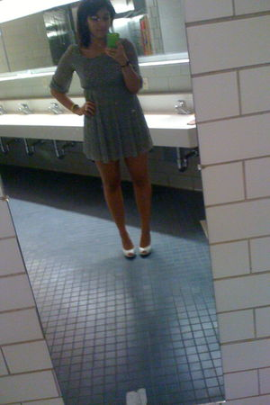 gray thrifted -- dress - white shoes
