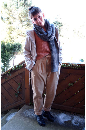 vintage boots - H&M pants - Monki sweater - acne jacket - H&M scarf