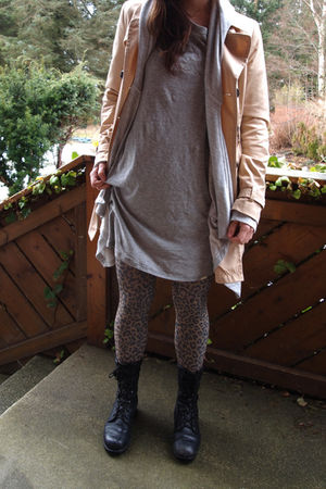 Ebay boots - H&M tights - acne t-shirt - BikBok jacket - H&M jacket