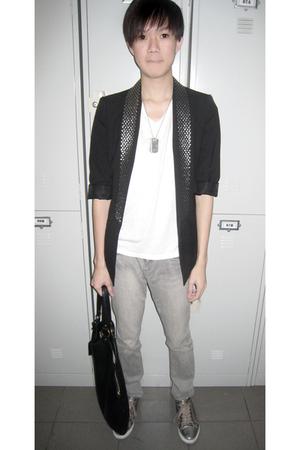 Zara studded blazer - lanvin t-shirt - Gucci necklace - Toshop jeans - Dolce & G
