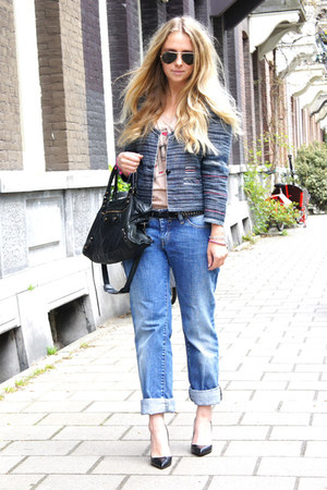 periwinkle Diesel jeans - blue Isabel Marant jacket - black balenciaga purse