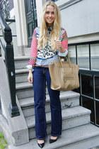 ivory Sheinside blouse - navy Levis jeans - camel Celine bag
