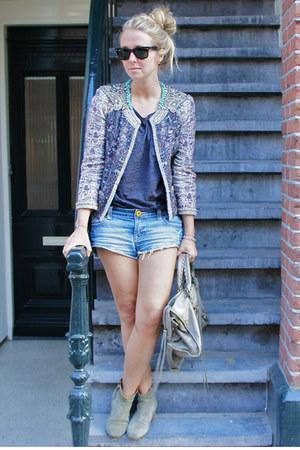 heather gray Isabel Marant jacket - dark khaki balenciaga purse