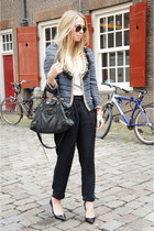 navy Isabel Marant jacket - black balenciaga purse