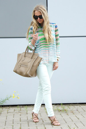 light blue cynthis vincent blouse - camel Celine purse
