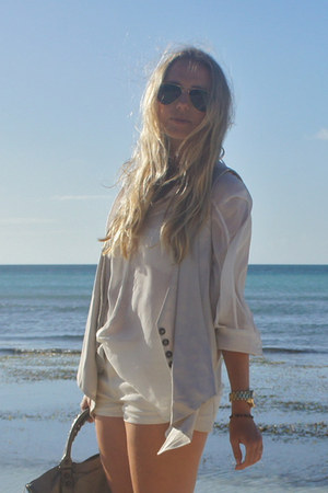 ivory H&M shorts - dark khaki balenciaga purse - beige Zara vest