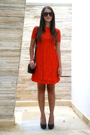 red lace Mango dress