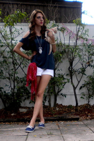 white Wet Seal shorts - navy Forever 21 shoes - navy Forever21 shirt