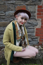 lime green vintage coat - tawny Topshop hat - mustard patterned vintage scarf -