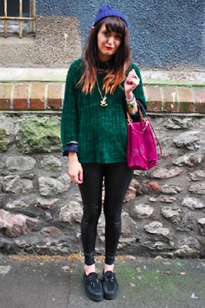 black Primark leggings - maroon Topshop bag - teal charity shop jumper