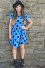 Black-matalan-boots-blue-dorothy-perkins-dress-black-new-look-hat