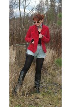 ruby red cotton velvet jacket - black leather boots - silver cotton scarf