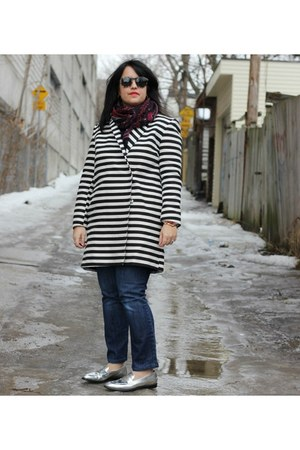 silver Jcrew loafers - stripes asos coat