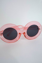 Mod Queen Super Oversized Round Sunglasses - Translucent Pink