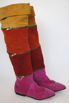 Vintage Knee-High Colorblock Zip Boots -- Size 6