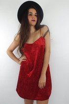 Be Mine Vintage 90s Red Velvet Slip Dress