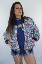 Flower Power Vintage Cotton Daisy Print Bomber Jacket