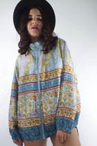 Vintage Silk Pastel Baroque Print Bomber Jacket